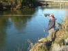 Michel Dedual, DoC fishery scientist, tries his luck on the Tauranga Taupo this evening