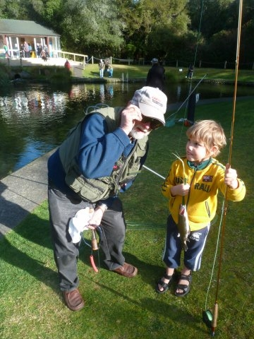 TNTC fish out day. Peter Baldwin  getting kids interested in fishing.