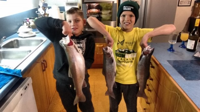 Grandsons with catch