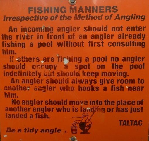 TALTAC sign stating fishing manners
