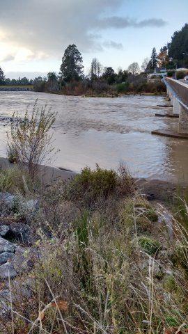 Receding flood waters at SH1 bridge